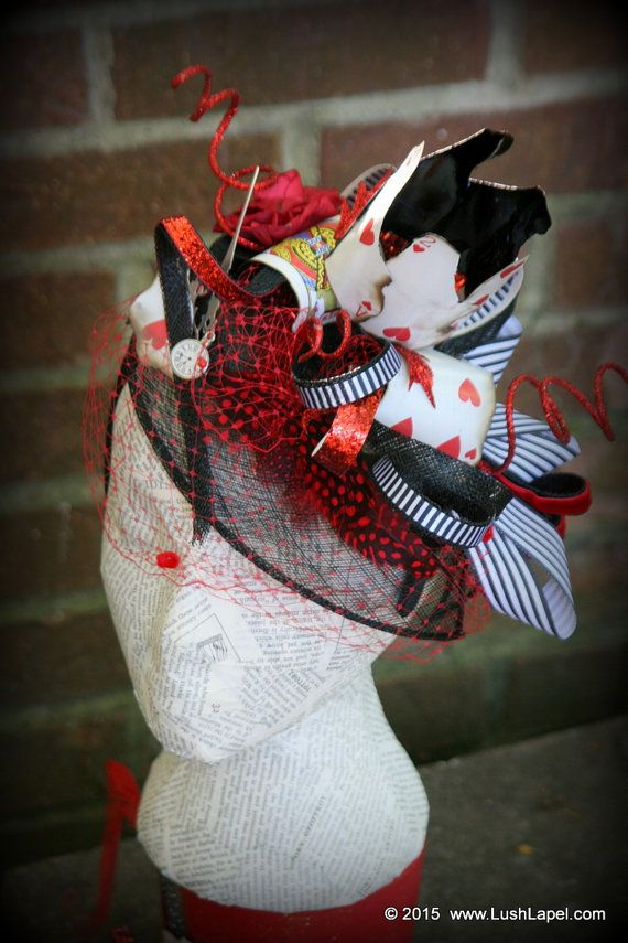Queen of Hearts Hat Playing Card Crown and Clockwork by LushLapel