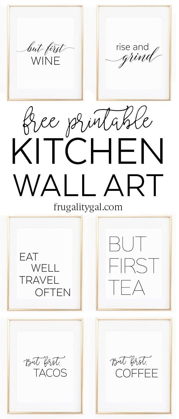 Kitchen Gallery Wall Printables   Free Printable Wall Art   Apartment Kitchen Decor Ideas   Free Printable Kitchen Art   Free Kitchen Printables Black and White
