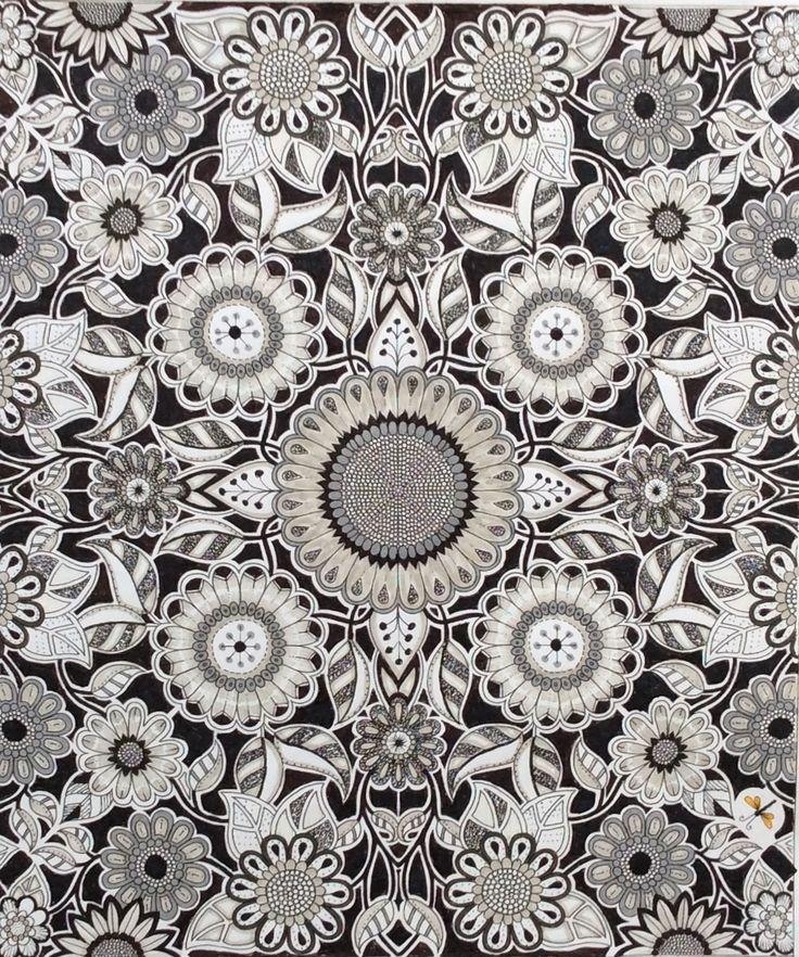 Secret Garden by Johanna Basford. Inking and monochrome by Prue
