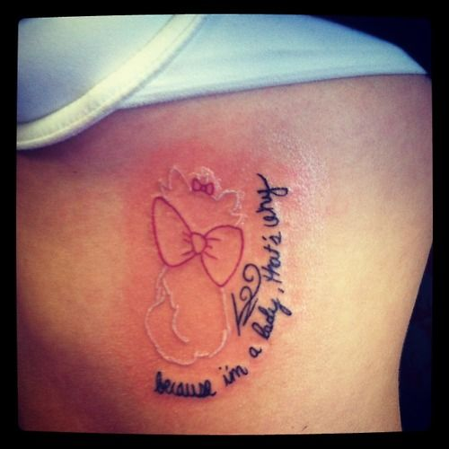 """My Disney Aristocats tattoo. Done by Skin Deceptions Tattoo Boise, Idaho. My design. """"Because I'm a lady, that's why."""""""