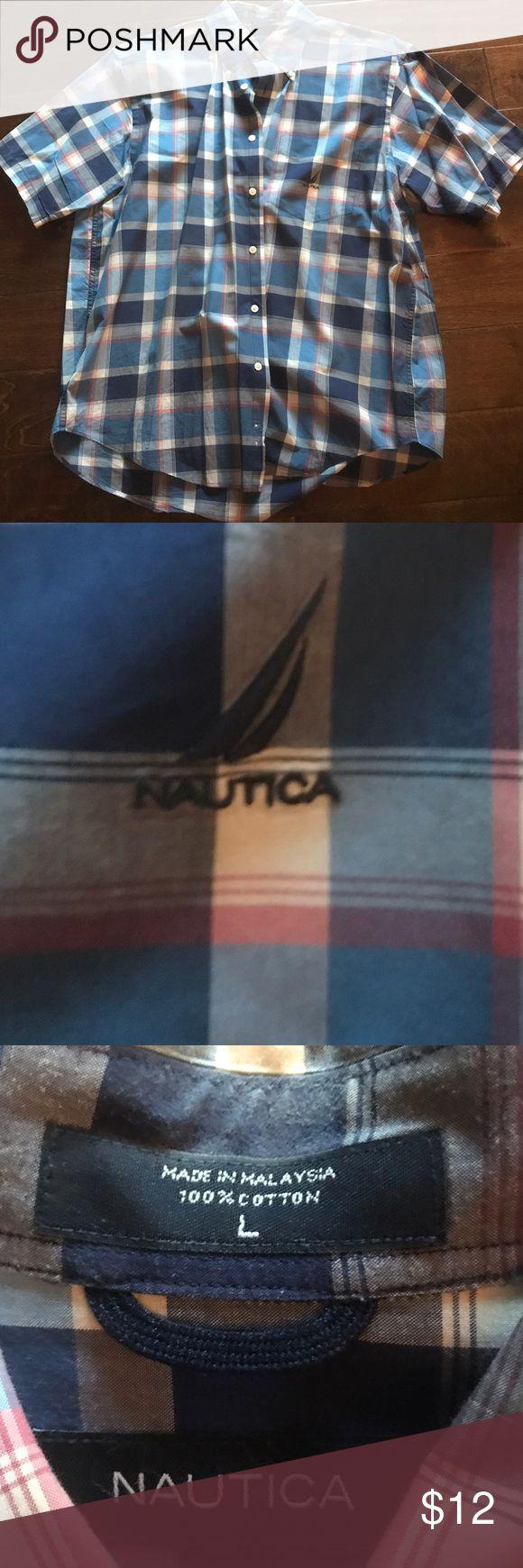 🎉 Nautica Blue Plain Casual Button Down Size Lg 🎉🆕 New without tags blue plaid casual button down shirt. Size large. Nautica Shirts Casual Button Down Shirts