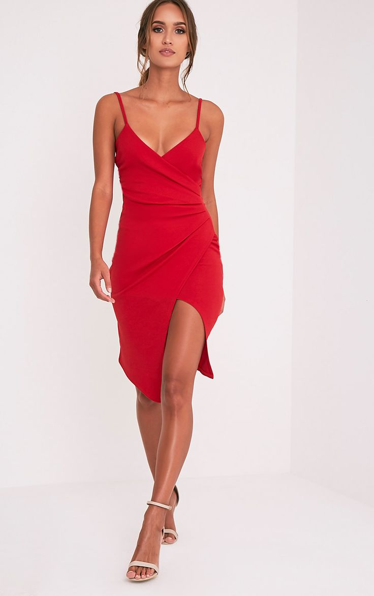 Lauriell Red Wrap Front Crepe Midi Dress