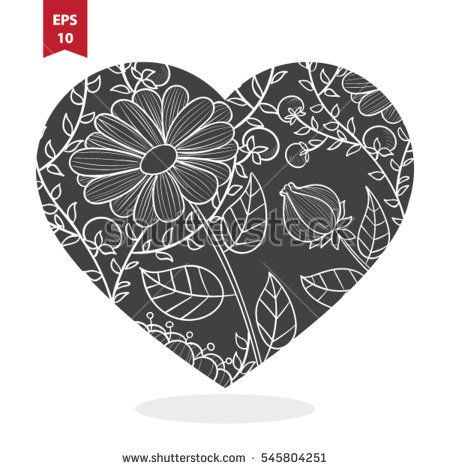 Vector heart with flower pattern