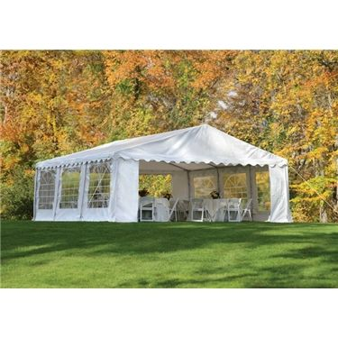 Party Tent 20' x 20' Enclosed Party Tents provide shade, shelter & protection for your next party, event or special occasion. Why rent when you can own? Great for weddings, company events, pool or backyard parties, trade shows and craft fairs.