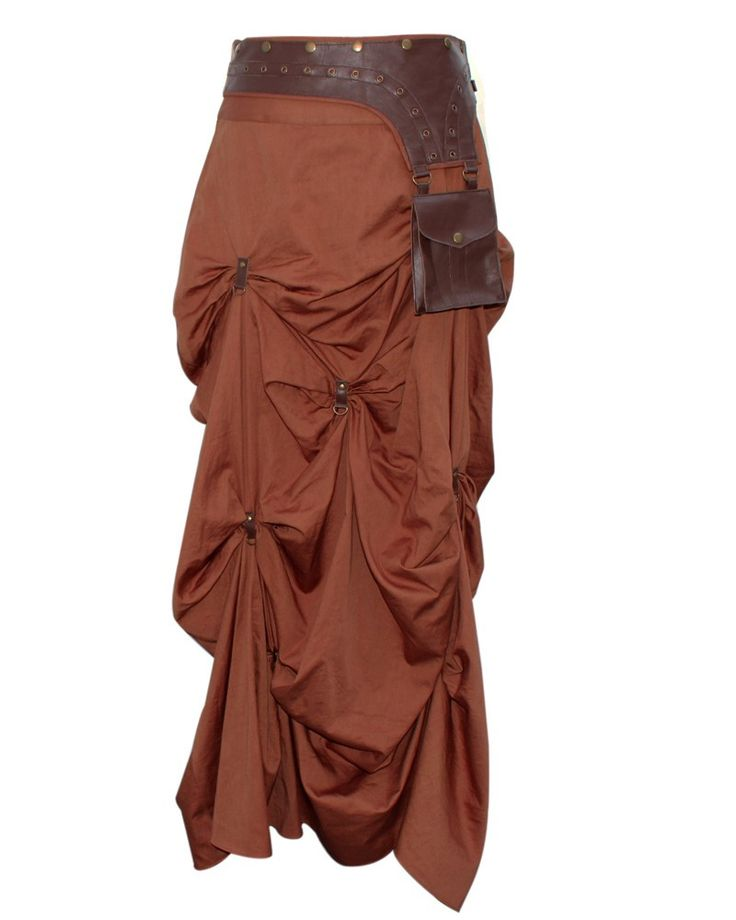 $85 Brown Steampunk Skirt with Pouch