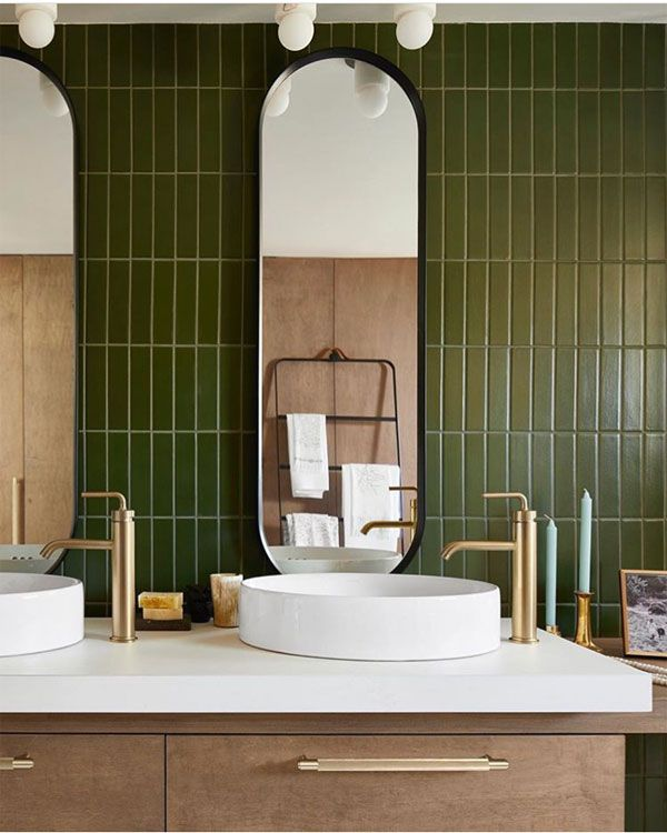 A Beautiful Modern Bathroom With Green Stacked Tile And Brass Hardware In 2020 Green Tile Bathroom Modern Bathroom Tile Bathroom