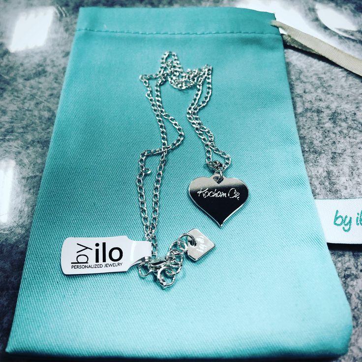Naszyjnik z sercem z napisem kocham cię