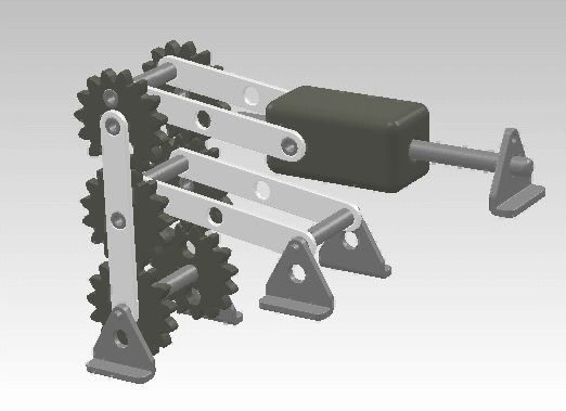 Machine demonstrating conversion of rotary motion to reciprocating motion using gears.