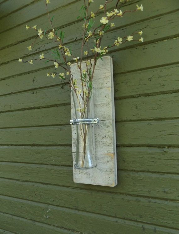 Rustic Wall Sconce. Wood Wall Sconce. Vase Sconce. White Wall Sconce. Flower Vase Sconce. Shabby Chic Sconce.  Reclaimed Wood Sconce.