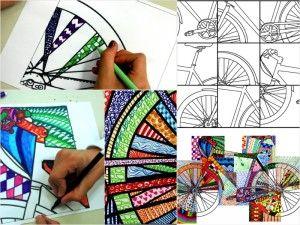 Bicycle texturized: 20 printable worksheets