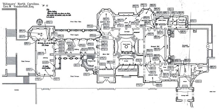 Biltmore house 1st floor blueprint biltmore estate for Biltmore estate floor plan