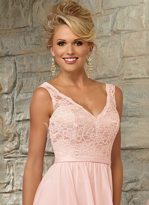 A-Line/Princess V-neck Knee-Length Lace Chiffon Zipper Up Regular Straps Sleeveless No Pearl Pink Spring Summer Fall Pink Bridesmaid Dress