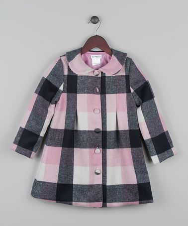 Another great find on #zulily! Navy & Pink Buffalo Check Wool Peacoat - Toddler & Girls #zulilyfinds