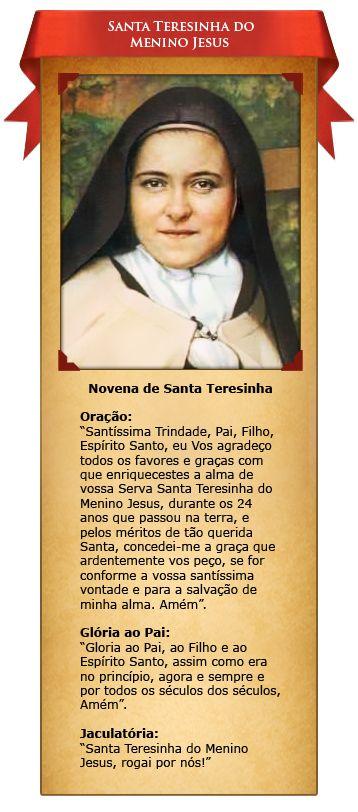 Santinhos Virtuais – Santa Teresinha do Menino Jesus   Associação Apostolado do Sagrado Coração de Jesus