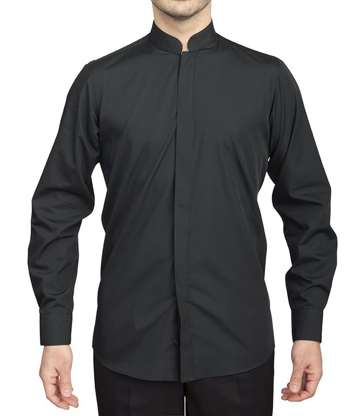 Camisa de hombre manga larga cuello mao botón oculto negra ROGER 922-140-07