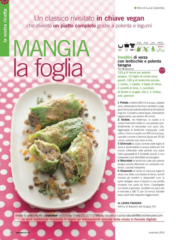 Involtini di verza con lenticchie e polenta Tarragona | Food ...