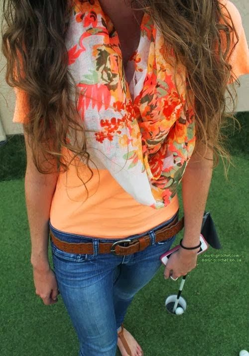 Lovely Colorful Casual Outfits Fashion With Floral Scarf  like the colors
