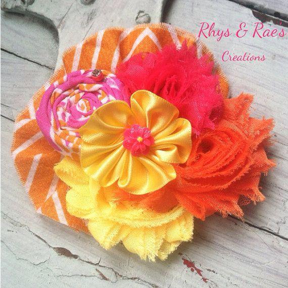 Hot Pink, Fuchsia, Yellow, Orange, White, Chevron, Fabric Flower ...