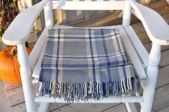 Pretty Blue/Gray/Cream Wool Tartan Blanket/Throw by Windyhillbarn