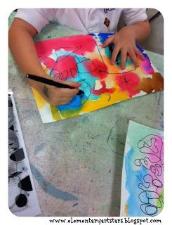 Art Stars-Joan Miro inspired watercolors for Kinder. Good way to throw in some art history.