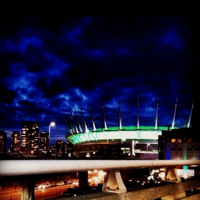 BC Place brightens up a dark fall evening in Vancouver.