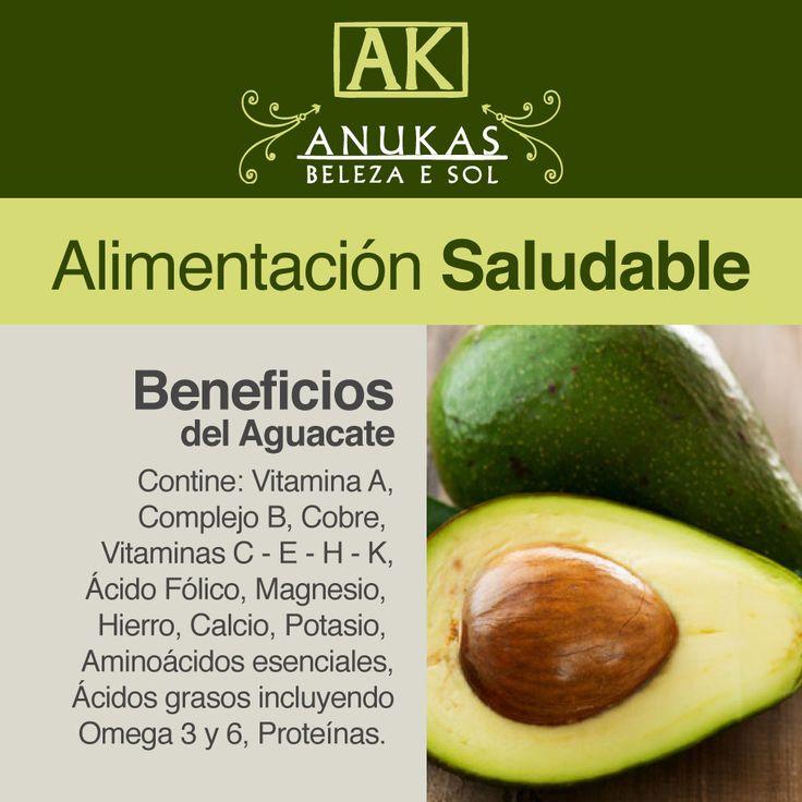 #Alimentación Saludable Beneficios del Aguacate: Contiene vitamina A, Complejo B...