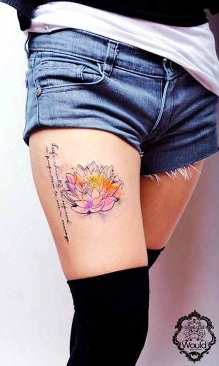 Tattoo Art And Style: Lotus watercolor tattoo on girl's leg