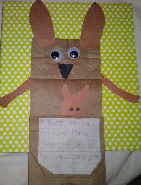 A kangaroo is a marsupial. The mama carries her joey in her pouch for a year. [Paper Bag Craft]