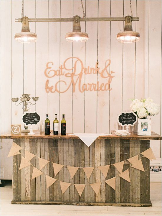 eat drink and be married rustic wedding bar