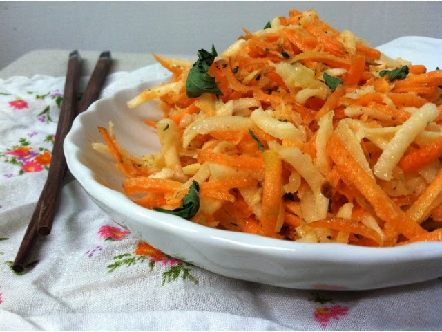 Shredded Kohlrabi & Carrot Salad with Coriander-Mint Dressing | Cayuga ...