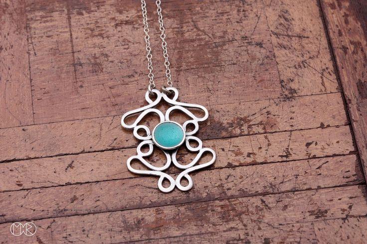 Halskette - silber mit emaille  von MartaRudnicka auf DaWanda.com