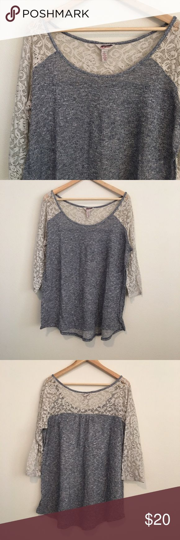 Gray and cream Lace shirt Cute gray and cream Lace top. Very comfortable and cute. Size XL. Arizona Jean Company Tops