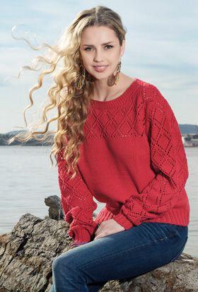 Strikkeopskrift, strik en lækker rød bluse med hulmønster