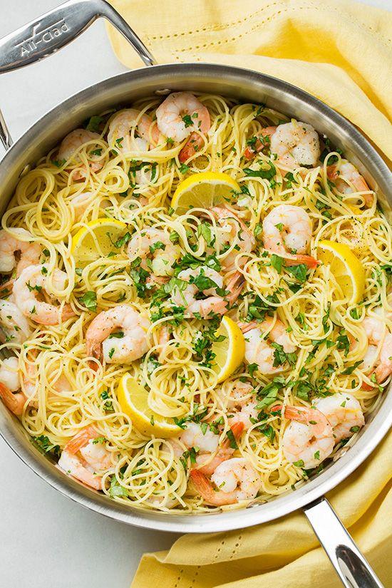 Lemon-Parmesan Angel Hair Pasta with Shrimp