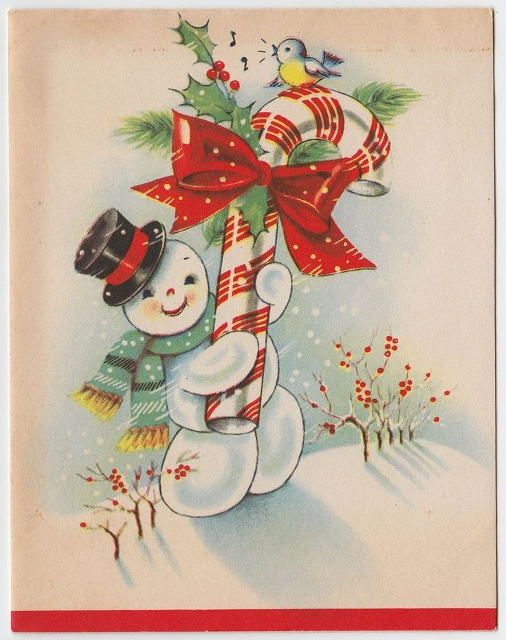 Vintage Greeting Card Christmas Snowman Candy Cane Bluebird e393