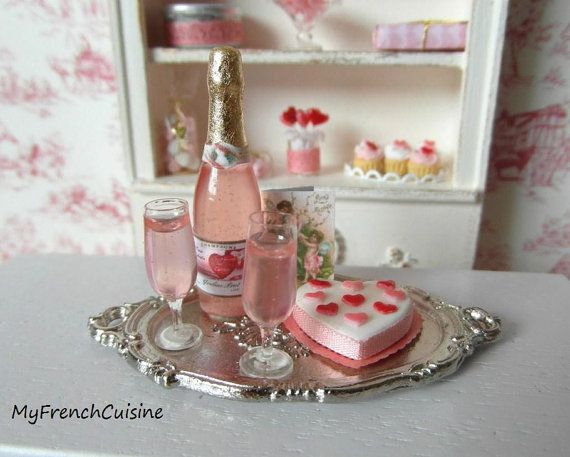 Valentine's Day Tray dollhouse miniature