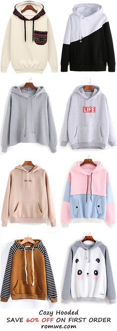 Fall & Winter Hooded Sweatshirts Collection from romwe.com