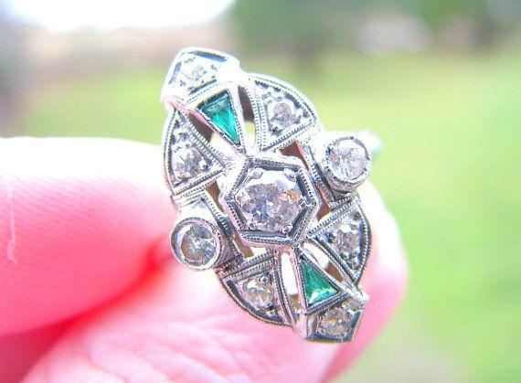 Art Deco Diamond Ring, Elegant Design in 14K White Gold, Sparkly Diamonds, Milgrain and Emerald Green Accent Stones