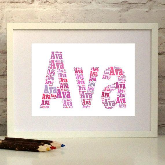 Girls Name Print  Bespoke gift for a child  Nursery art Baby Girl Gift Pepper Doodles
