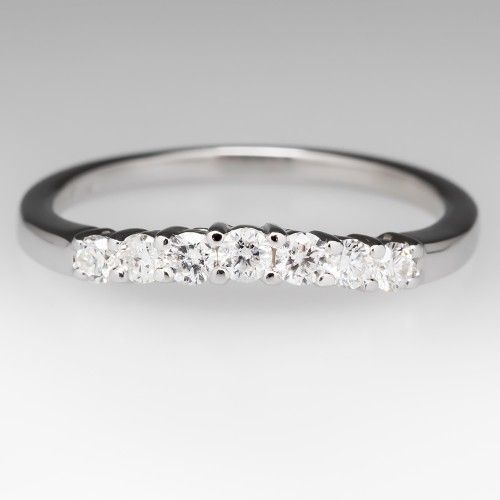 1/4 Carat Curved Wedding Band Ring with Diamonds in 14K White Gold