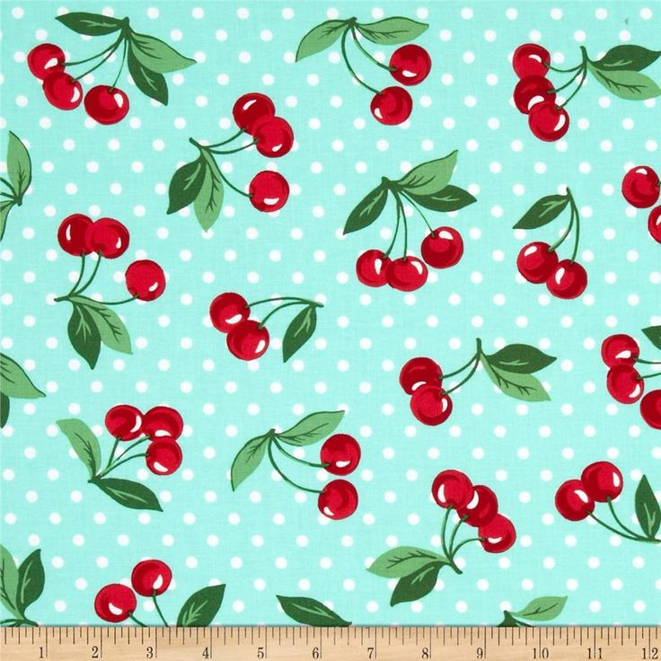 Michael Miller Cherry Dot Mint from @fabricdotcom  Designed for Michael Miller, this cotton print is perfect for quilting, apparel and home decor accents. Colors include white and shades of green and red.