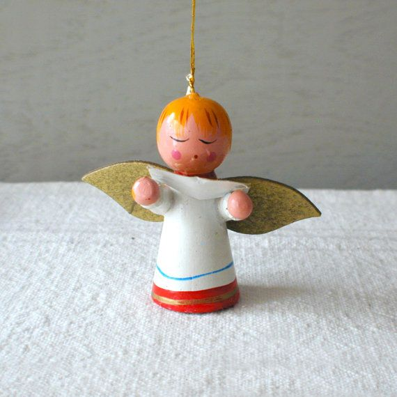 Painted Wooden Angel Ornament