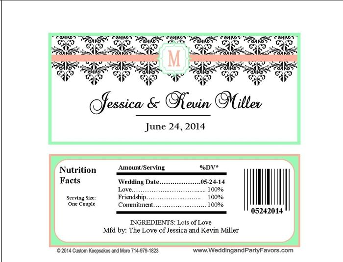 Wedding Candy Bar Wrapper Wed 687 WP In Coral And Mint