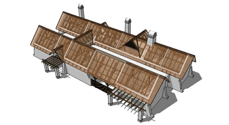 Roof layout for a thatched farm house in the vernacular style, Stellenbosch.  By Andre de Villiers Architects.