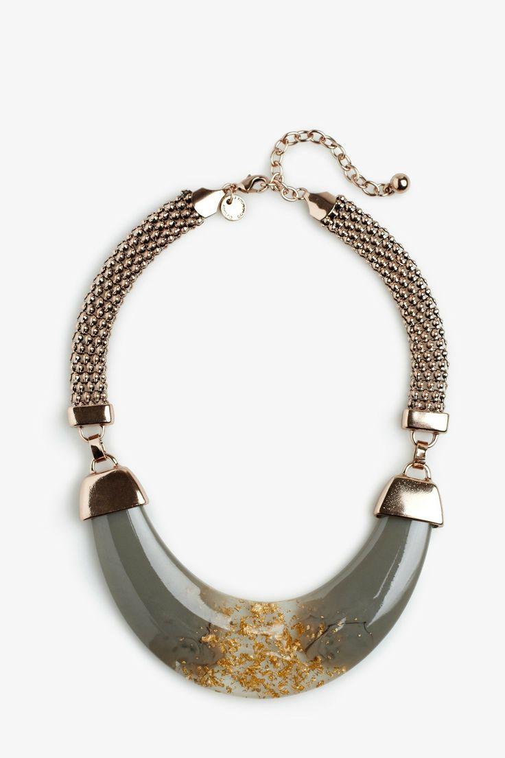 Golden Resin Necklace - mediterranean summer | Adolfo Dominguez