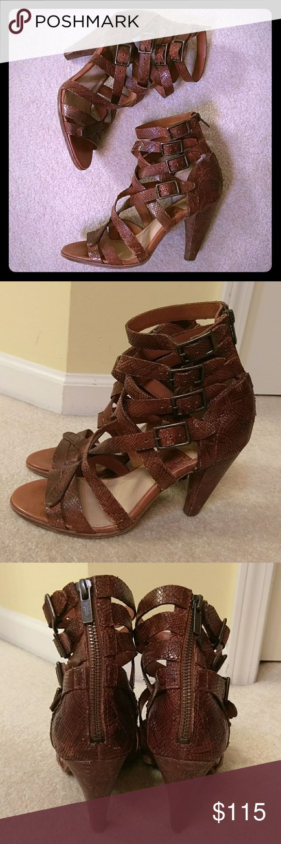 Frye like NEW sexy sandals Frye Mika Strappy Embossed Leather Cognac. Made to look destressed including the heels. Very sexy, and incredibly comfortable. Worn once. 4 inch heels. Zipper for easy access. Buckles adjust to fit most ankles. Sorry, no trades. Frye Shoes Sandals