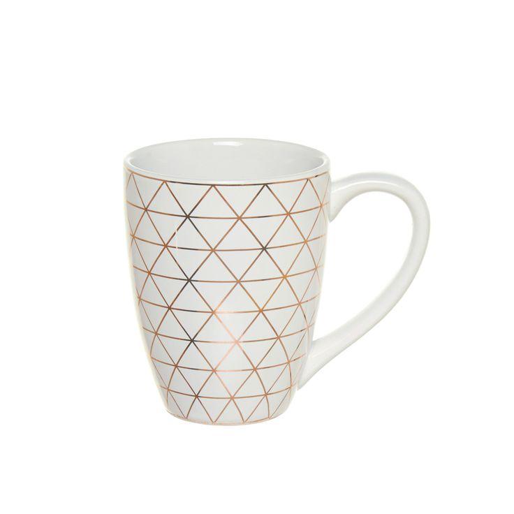 Mug in ceramica. Decorazione geometrica dorata. - Coin 3,45