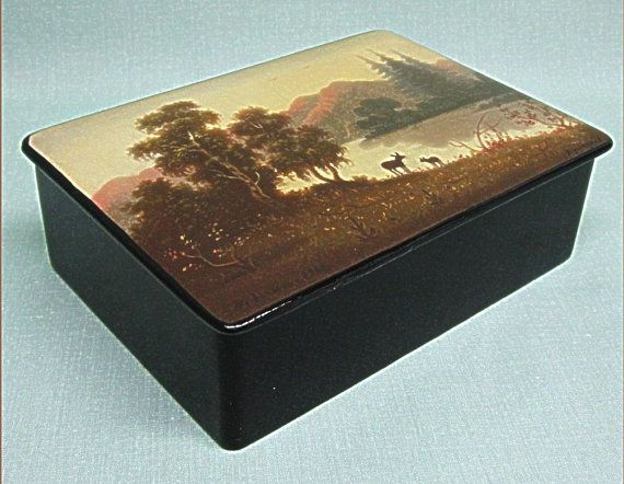 Russian Lacquer Box Fedoskino Artist Signed