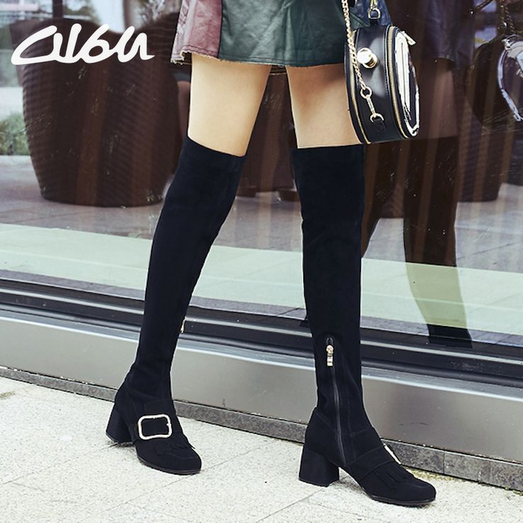 O16U Winter Women Stretch Suede Leather Over the Knee Boots Shoes Ladies Slip Zipper Square Toe Tassel Med Heels Designer boots