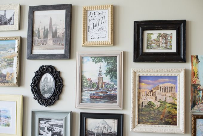 Frames keep postcard edges from curling and add interest. // travel gallery wall - Postcards from Rachel